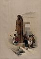 Statue at the temple at Wadi Saboua, Egypt. Coloured lithogr Wellcome V0049330.jpg