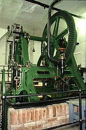 Green painted machinery with a wheel at the top anmd a small brick wall in front