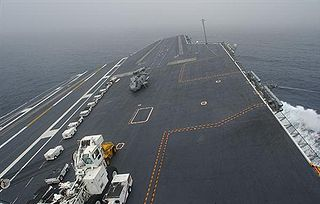 landing/take off surface of an aircraft carrier