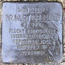 Photo of Kurt Grelling brass plaque