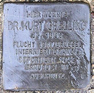 Kurt Grelling - Memorial Stolperstein at Kurt Grelling's residence Königsberger Straße 13 in Berlin