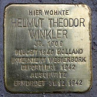 "Henry Winkler - ""Stolperstein"" (stumbling block),  Helmut Theodor Winkler,  Nikolsburger Platz 1,  Berlin-Wilmersdorf, Germany"