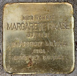 Photo of Margarethe Haase brass plaque