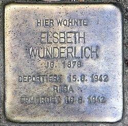 Photo of Elsbeth Wunderlich brass plaque