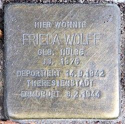 Photo of Frieda Wolff brass plaque