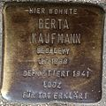 Stumbling block for Berta Kaufmann (Alteburger Straße 11)