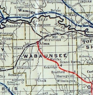 Wabaunsee County, Kansas - 1915 Railroad Map of Wabaunsee County