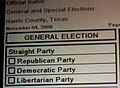 Straight Party voting on Harris County, Texas ballot in 2008 (2991012654).jpg