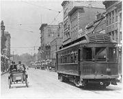 Streetcar moves along State Street circa 1915