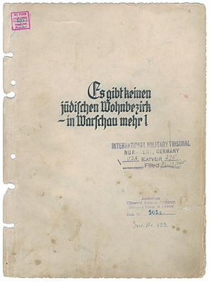 Stroop Report - The second copy of The Stroop Report from Institute of National Remembrance in Poland.