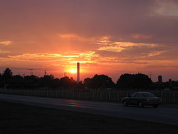 Sunset in Fairview, looking across US 36 highway, 2006