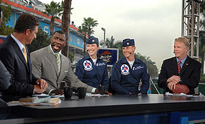 Super Bowl XLI - The NFL Today pre-game show with officers of the U.S. Air Force Thunderbirds.