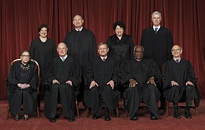 Supreme Court of the United States - The Roberts Court (April 2017 – present). Front row (left to right): Ruth Bader Ginsburg, Anthony Kennedy, John Roberts (Chief Justice), Clarence Thomas, and Stephen Breyer. Back row (left to right): Elena Kagan, Samuel A. Alito, Sonia Sotomayor, and Neil Gorsuch.