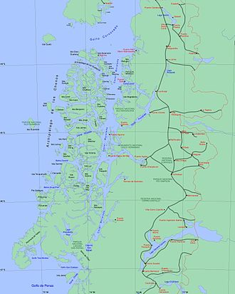 Fjords and channels of Chile - Fjords and channels of Aysén Region. Click to enlarge.