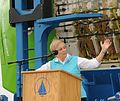 Susan Avery speaking at a dockside ceremony in June 2013 to celebrate the arrival of DEEPSEA CHALLENGER vehicle donated to WHOI by James Cameron.jpg