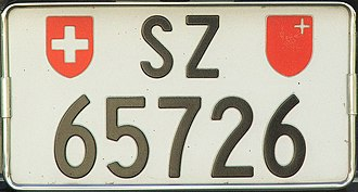 Vehicle registration plates of Switzerland - Car number plate 2line format of the Canton of Schwyz (SZ) (Rear plate)