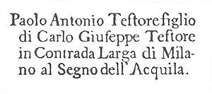 Carlo Giuseppe Testore - Violin label from Paolo Antonio Testore
