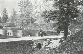 Taddle Creek - Taddle Creek, dammed to create McCaul's Pond, on the University of Toronto campus in 1870