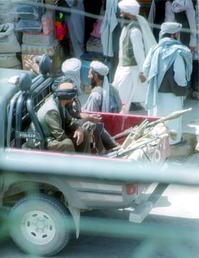 Taliban fighters patrolling the streets of Herat, 15 July 2001 Taliban-herat-2001 retouched.jpg