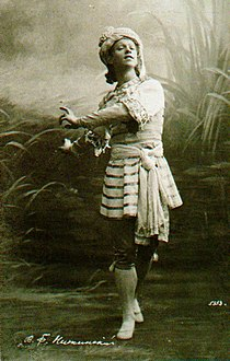 Vaslav Nijinsky as Vayou in Nikolai Legat's revival of Marius Petipa's The Talisman, سانت بطرسبرغ, 1910