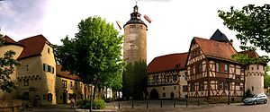 Tauberbischofsheim - Centre of the town with the tower and castle