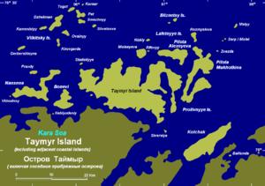 Kolchak Island - Map of the Taymyr group.