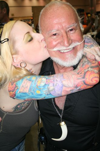 Ted V. Mikels - Ted V. Mikels with a fan in 2008