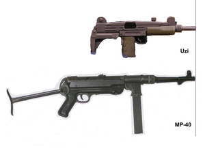 """Telescoping bolt - External view of Uzi and MP40 submachine guns, both 9mm submachine guns with a 10"""" (250mm) barrel, showing size advantage that telescoping mechanism allows"""