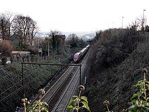 Belgian railway line 36 - A Thalys train on line 36 in 2006