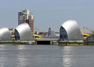 Coastal flood - (Figure 3.) The Thames Barrier provides flood control for London, U.K.