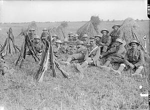 48th (South Midland) Division - Lieutenant Baxter's Platoon, C Company, 1/7th Battalion, Worcestershire Regiment, resting in a cornfield near Lavieville, September 1916.