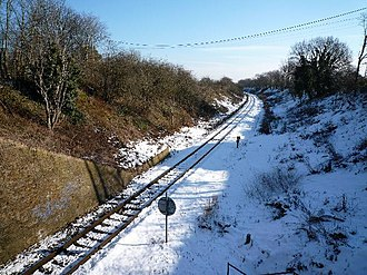 Brentford branch line - Image: The Brentford Branch Line looking eastwards from The Three Bridges geograph.org.uk 1183622