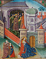 The Buffeting before the high priest Mary faints in John's arms outside the gate. One of the unidentified shields of arms repeated in border (f. 51) Cropped.jpg
