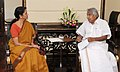 The Chief Minister of Kerala, Shri Oommen Chandy calls on the Minister of State for Commerce & Industry (Independent Charge), Finance and Corporate Affairs, Smt. Nirmala Sitharaman, in New Delhi on July 03, 2014.jpg