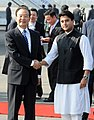 The Chinese Premier, Mr. Wen Jiabao being received by the Minister of State for Commerce and Industry, Shri Jyotiraditya Scindia on his arrival at the Air force Station Palam, in New Delhi on December 15, 2010.jpg