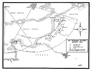 """World War II map shows the two areas where the Germans were setting up their secret """"V"""" weapons to bombard Englan"""