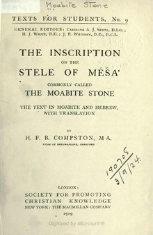 The Inscription on the Stele of Méša commonly called the Moabite Stone.djvu