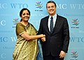 The Minister of State for Commerce & Industry (Independent Charge), Smt. Nirmala Sitharaman meeting the DG, WTO, Mr. Roberto Azevedo, in Geneva on July 18, 2017.jpg