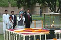 The Prime Minister, Dr. Manmohan Singh paying tributes at the Samadhi of Mahatma Gandhi at Rajghat on the occasion of 59th Independence Day in Delhi on August 15, 2005.jpg