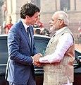 The Prime Minister, Shri Narendra Modi welcomes the Prime Minister of Canada, Mr. Justin Trudeau, at the Ceremonial Reception, at Rashtrapati Bhavan, in New Delhi on February 23, 2018 (1).jpg
