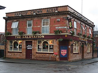 Jane Eyre - The Salutation pub in Hulme, Manchester, where Brontë began to write Jane Eyre; the pub was a lodge in the 1840s.