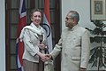 The Secretary of State for Foreign and Commonwealth Affairs, United Kingdom, Ms Margaret Beckett calls on the Union Minister of External Affairs, Shri Pranab Mukherjee, in New Delhi on November 02, 2006.jpg