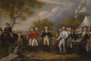 History of the Hudson River - Painting of Burgoyne's surrender at Saratoga