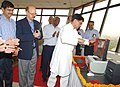 The Union Minister for Civil Aviation, Shri Ajit Singh launching the trial operations of Data Link Communication at Mumbai Airport on June 18, 2012. The Civil Aviation Secretary, Dr. Nasim Zaidi is also seen.jpg