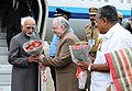 The Vice President, Shri M. Hamid Ansari being received by the Governor of Kerala, Shri Justice (Retd.) P. Sathasivam, on his arrival, in Thiruvananthapuram, Kerala.jpg