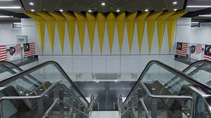 "Merdeka MRT station - The interior design of the station incorporates the theme of ""independence"" as shown by this decoration that is inspired by the 14-pointed star of the Malaysian flag."