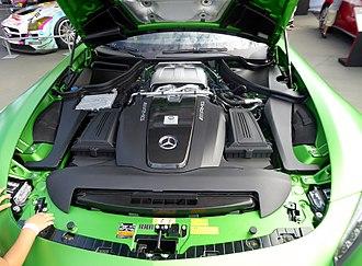Mercedes-Benz M176/M177/M178 engine - Image: The engineroom of Mercedes AMG GT R (C190)
