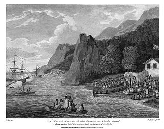 John Meares - The launch of the North-West America at Nootka Sound, 1788