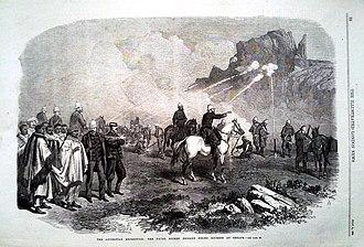 Senafe - Image: The naval Rocket brigade firing rockets at Senafe (1868)