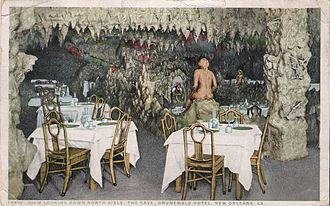 The Roosevelt New Orleans - A postcard of The Cave in the Grunewald Hotel circa 1908